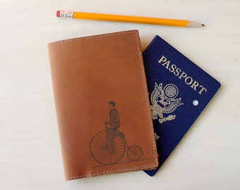 Handmade Leather Passport Holder [Multicolor] [Customizable] [Penny Farthing]