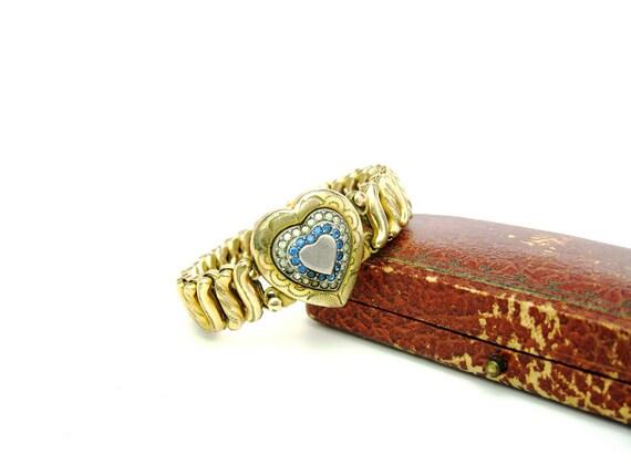Vintage Sweetheart Expansion Locket Bracelet. D.F.B. Co. 1940s WWII