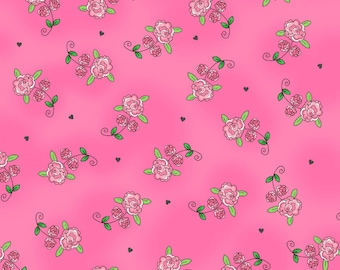 Dark Pink Rosebuds Fabric Roses Fairy Tale Ta-Da Henry Glass Dana Brooks Metallic Cotton