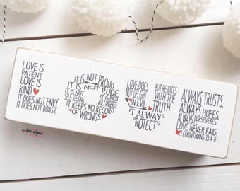 "Selah Signs LOVE printed miniblock 7x2.5"" 1 Corinthians 13 LOVE sign scripture sign bible verse sign love is patient"
