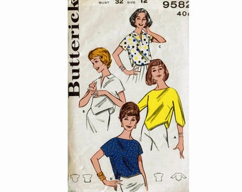 60s Cropped Tops Midriff Tops 1960s Set of Blouses Size 12 Bust 32 Butterick 9582 Vintage Sewing Pattern