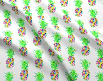 Abstract Summer Fabric - Pineapple Colorful By Erinanne - Summer Cotton Fabric By The Yard With Spoonflower