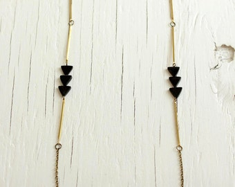 Onyx Triangle Necklace with Brass Bars, Statement Necklace