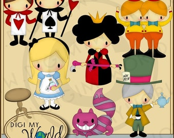 Alice in Wonderland - Alice, Chesire cat, Mad Hatter Clipart and graphics