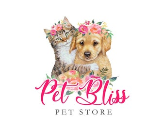 Animals Logo, Cat Logo, Dog Logo, Canine Logo, Cat Dog logo, Pets Logo, Pet shop Logo, Retriever Short hair, Floral logo, Flowers logo, ooak