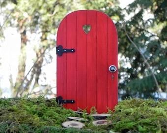 Handmade Fairy Door, with tiny key, fairy garden miniature, accessory miniature gnome garden, wooden, red heart cutout, glass door knob
