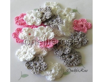 15 pcs. Mini Crochet Flowers PINKYSSS