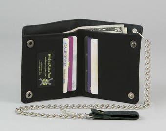 All Black Vegan Chain Wallet, Black Fabric Pockets, Black Canvas Wallet, Plain Black, No Print, No Design