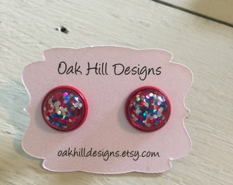 Patriotic earrings-red white and blue earrings-glitter dome earrings