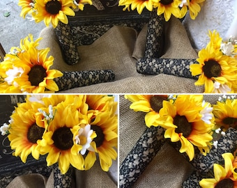 Sunflower Bouquet Wedding 17 Piece Black Lace Flower Set, Sunflower Bridal Bouquet, Sunflower Lace Bouquet, Sunflower Wedding Bouquet Rustic