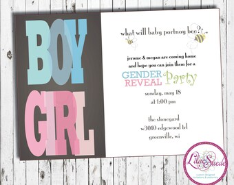 Gender reveal party - boy or girl - baby shower invitation - DIY - PRINT YOURSELF or purchase prints