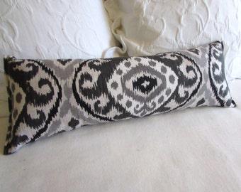 Bolster/lumbar pillow charcoal and grays ikat 9x25