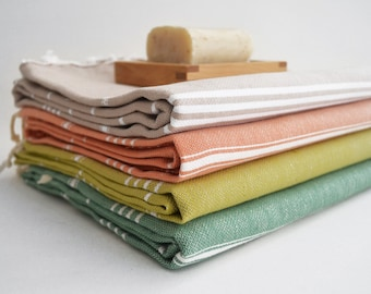 SALE 50 OFF / SET 4 / Turkish Beach Bath Towel / Classic Peshtemal / Green - Soil Color - Mustard - Beige