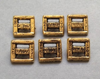 6 buttons square metal gold plated 14 mm antique gold