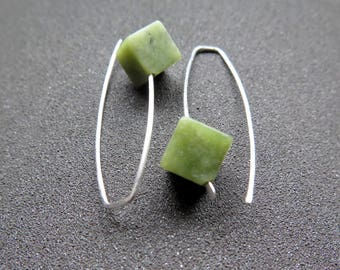 Canadian jade earrings. green jade jewelry. made in Canada. sterling silver earings.