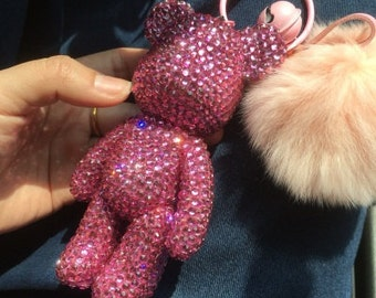 Hot Pink Crystal Bear Keychains Cute Bling Keychains