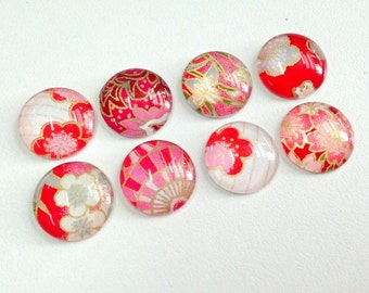 NEW- Mixed Bag- set of 8 Glass Magnets - Handmade with Japanese Chiyogami paper- Pinks, Reds, Fuschia, Magenta colors