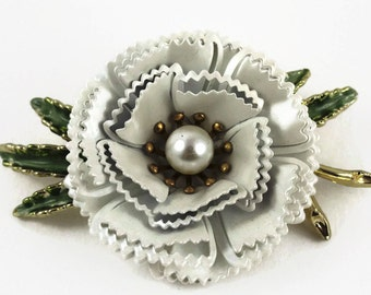 Vintage  1960's Enamel Carnation with Pearl Pin - Jewelry for Spring - White flower