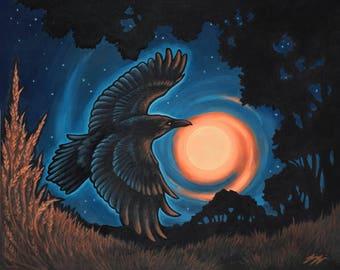 October - Raven Painting/Original Artwork/Acrylic Painting/Halloween/Gothic/Autumn/Bird Art