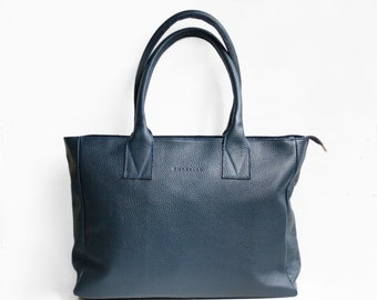 Leather Shopper in Dark Blue /Leather Tote / Shoulder Bag / Blue Leather Bag / Leather Bag  / Leather Handbag / Morelle Bag