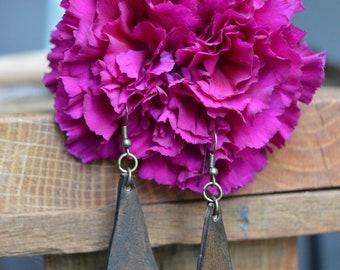 Leather Earrings (Diamond Shape)