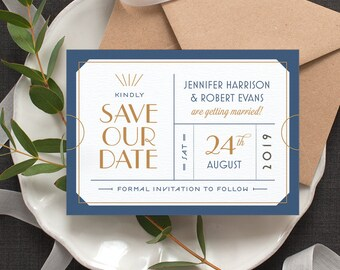 Ticket 'Save the Date' Card / 'Art Deco Ticket' Wedding Card / Just Engaged / Navy Blue Gold Copper / Custom Colours Available / ONE SAMPLE