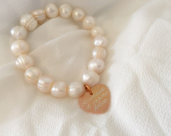 Engraved engraved heart pendant engraved heart pearl bracelet