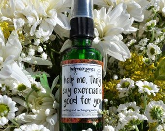 Room Spray Energy Boosting Aromatherapy - organic witch hazel & essential oils -help me, they say exercise is good for you room spray 40ml