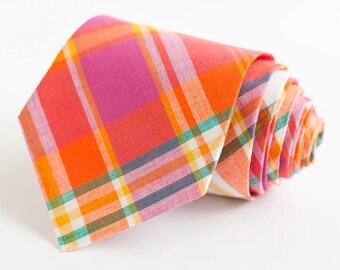 Necktie, Mens Necktie, Neck Tie, Groomsmen Necktie, Ties, Tie, Wedding Neckties, Plaid Necktie - Fuchsia, Orange, Teal Organic Madras Plaid