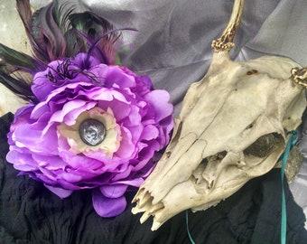 Cadmean Vixen Flower, Tribal Fusion, Belly Dance, Hair Flower, Feathers, Fascinator, Unusual Hair Garden
