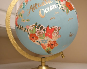 "Custom 12"" World Globe, Hand Painted Flowers, Gold Stand, Flower Map"