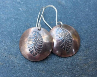 Small lightweight copper and sterling silver leaf stamped dangle earrings, oxidized mixed metal