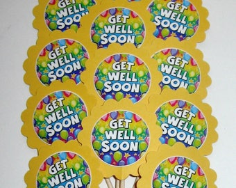 Get Well Cupcake Toppers/party Picks Item #1721