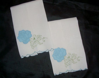 Two Vintage White Guest Towels With Hand Appliqued Flowers