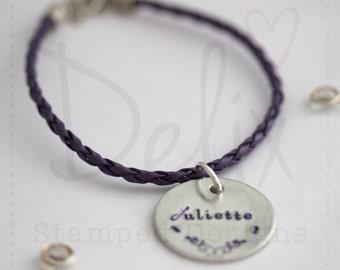 Hand stamped braided name bracelet, word bracelet
