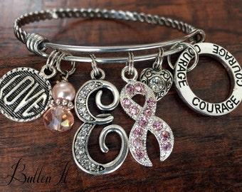 Breast Cancer Gifts, breast cancer bracelet, encouragement, courage, love, hope, bangle bracelet, Initial Jewelry, Charm bracelet, survivor
