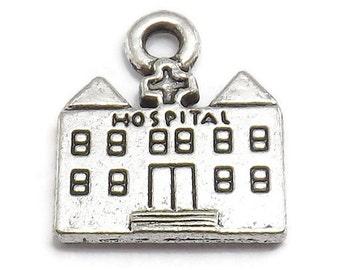 6 Hospital Charms silver tone metal nurse doctor (S374-cnt)