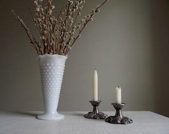 Hobnail Milk Glass Vase , Large White Vase , Fluted Rim Vase , Vintage Wedding Decor , Cottage Chic Vase