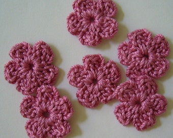 Crocheted Flowers - Rose Pink Forget-Me-Nots - Cotton Flowers - Crocheted Flower Appliques - Crocheted Flower Embellishments - Set of 6