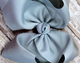 6 in. Silver Boutique Hair Bow - XL Hair Bow - Big Hair Bows - Girl Hair Bows