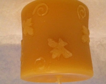 Beeswax Candle by Down the Lane Farm Poured Pillar Honeybee with Candle Care Card Cotton Wick Natural Air Purifier 100% Natural