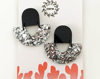 Laser Cut Dangle Glitter Studs - arch rainbow shape in black and silver glitter
