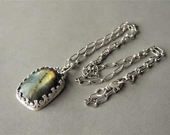 Labradorite Pendant, Sterling Silver Necklace, Charm Necklace, Artisan Jewelry, Bezel Gemstone, Minimalist Jewelry, Rustic Urban Jewelry