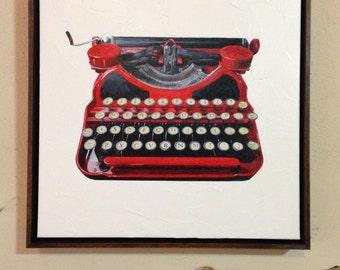 Vintage Corona Typewriter 16x16 Framed Giclee Hand Embellished Canvas Print