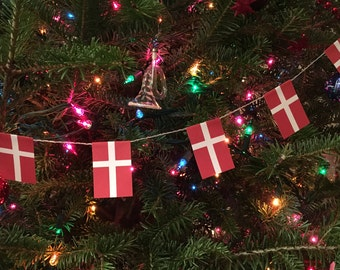 Denmark Flag Garland- Christmas Decoration- Paper - 5 feet - Danish