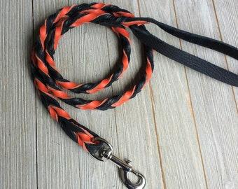 Orange and Black leash, Braided Leather Leash