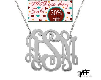 Monogram Necklace - 1.5 personalize silver monogram necklace sterling silver .925 silver