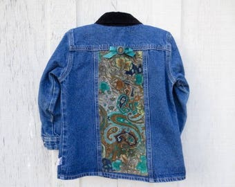 Upcycled Girls Denim Jean Jacket Vintage Paisley Corduroy Coat Back to School Wear Play Clothes Unique OOAK Toddler 4T