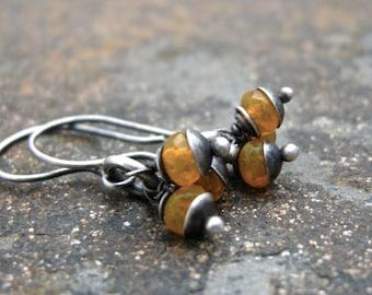 yellow bead earrings, yellow czech glass earrings, handmade earrings, tiny earrings, drop earrings, dangle earrings