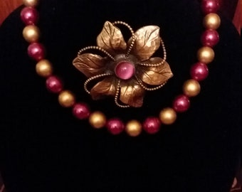 Gold Fuschia necklace & brooch
